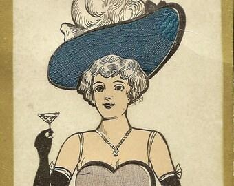 Silk Inserts on Unused Antique Postcard Elegant Lady in Fabulous Hat Raising a Glass – Humorous Postcard