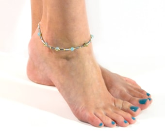 Fancy Anklet - Blue and Gold - Anklet - 9.25 to 10.5 Inches
