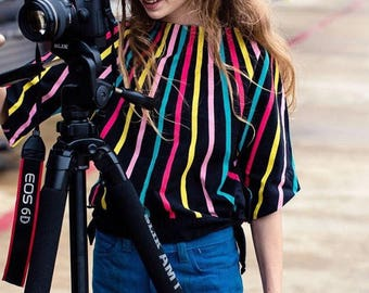 Geometric Optic Batwing Sleeve cotton blouse