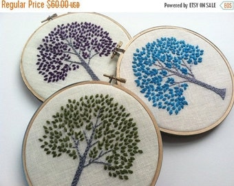 On Sale Tree hand embroidered home decor hoop art in green purple aqua citrine orange or magenta by mlmxoxo
