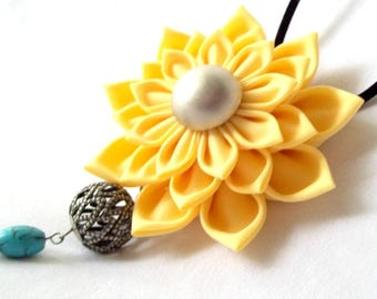 Large Yellow Flower Statement Necklace with Turquoise Chain Tassel Pendant