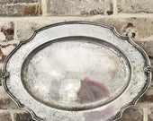 Vintage Silver Plated Serving Tray from The Harvard Club of Boston