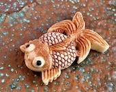 Artisan Bead #1...Handcarved bone Koi Fish bead