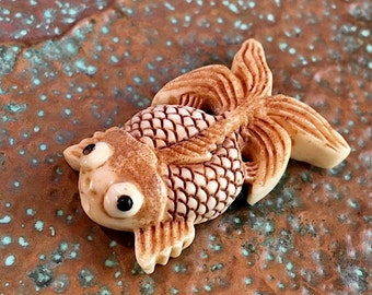 Artisan Bead #1...Handcarved bone Koi Fish bead