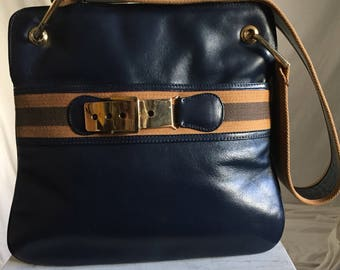 70's Designer In The Style of Gucci Navy Leather Shoulder Handbag with Striped Canvas Strap