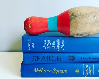 Royal Blue Books Instant Library Collection Decorative Books Photography Props Bright Blue Vintage Book Set