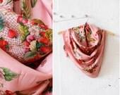 Strawberry Gucci Scarf • Floral Silk Scarf • Silk Scarf Square • Vintage Gucci • Floral Silk Scarf • Pink Scarf • Floral Scarf   GSC008