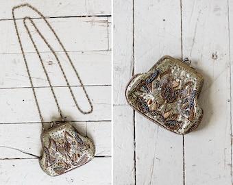 Bronze Beaded Purse • Small Crossbody Purse • Metallic Purse • Evening Purse • Kisslock Purse • Floral Purse • Small Crossbody Bag | B738