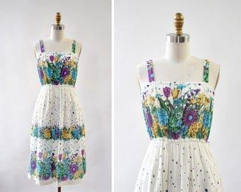 Ladybug Floral Dress • 70s Dress • Cotton Summer Dress • Vintage Sundress • White Sun Dress • Summer Cotton Dress | D1271