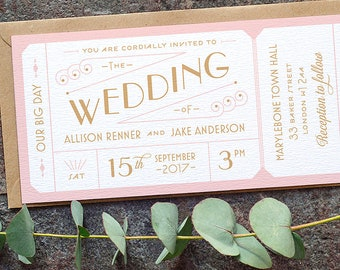 Destination Ticket Wedding Invitation / 'Just the Ticket' Art Deco 1920s Wedding Invite / Blush Pink Copper / Custom Colours / ONE SAMPLE