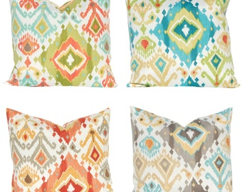 Outdoor Pillow Covers - Summer Outdoors - Ikat Cushions in Four Colors - Throw Pillow Covers - Patio Decor - Pool Decoration
