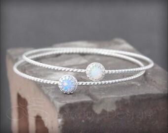 OPAL BRACELET - sterling opal bracelet, opal bangle bracelet, birthstone bracelet, stacking bracelets, stackable bracelets, blue opal, green