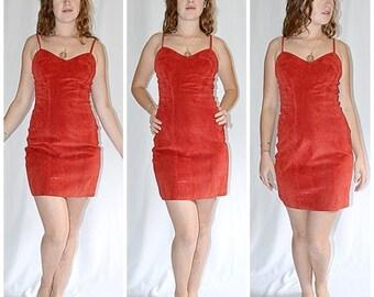 Vintage Red Suede Mini Dress Sz S/M FIRENZE