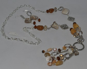 Natural Stone & Shell Necklace/earring Set