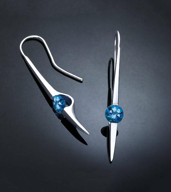 Swiss blue topaz earrings, statement earrings, dangle earrings, Argentium silver, December birthstone, blue topaz earrings - 2444