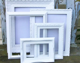 Set of 5 Shabby Chic Bright White Picture Frames for Gallery Wall, Wedding Decor, Nursery Decor
