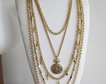 Vintage 60s Napier Gold 5 Strand Rope Chain Pocket Watch Charm Necklace