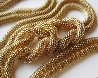 Vintage 60s Gold Mesh Rope Knot Twist Long Lariat Necklace