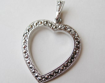 Vintage Sterling Silver Sweetheart Heart Shaped Marcasite Sweetheart Necklace Pendant