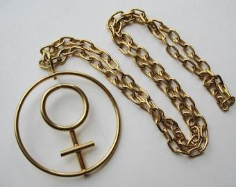 Vintage 70s Gold Metal Female Symbol Women's Movement ERA Statement Necklace