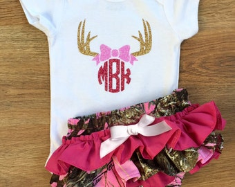 Pink Camo Ruffle Bloomers and Monogram Onesie