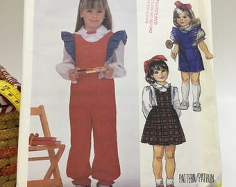 McCalls #2059 Sewing Pattern Childs Jumper Overalls Blouse Pinafore Dress Bib Shorts