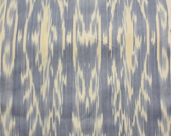 Uzbek blue denim color cotton woven ikat fabric