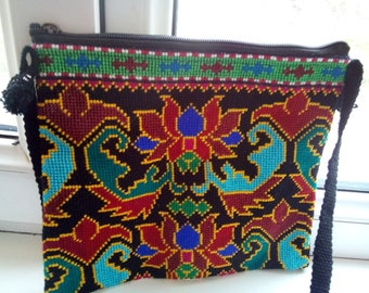 Uzbek silk hand embroidered bag Mascot. Cross stitch emboidery