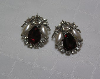 Vintage large ruby red faceted stone with pearl petals and clear sparkling rhinestone wedding clip on earrings