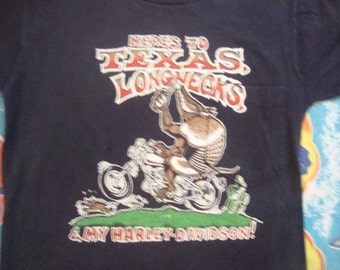 Vintage 70's Harley Davidson Motorcycle Pocket Print Biker Houston Texas Armadillo Beer T shirt XS