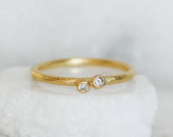 Tiny Diamond Twinkle Ring - Double Diamond Ring - Small Diamond Gold Stacking Ring - Choose 14k OR 18k Gold  - Eco-Friendly Recycled Gold