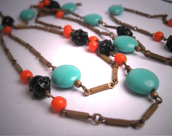 Antique 1920's Czech Turquoie and Coral Art Glass and Vintage Link Beaded Flapper Necklace