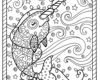 Narwhal Christmas Coloring Pages Adult Books