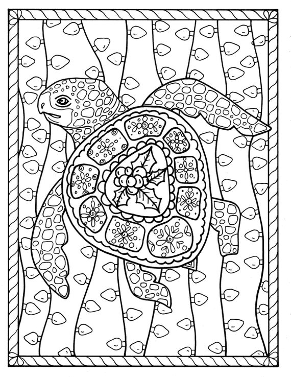 Sea Turtle Christmas Coloring Page Instant Download Digital