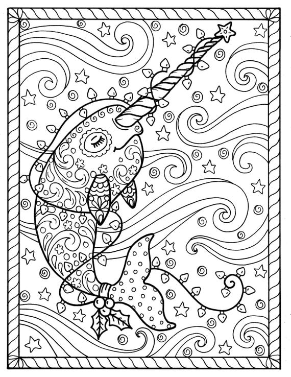 Narwhal christmas coloring pages adult coloring books digi for Narwhal coloring page