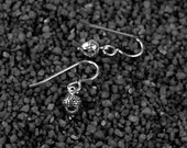 Tiny Acorn Earrings - Sterling Silver Acorn, Small Dangle Earrings, Woodland, Good Luck, Everyday Drops, Nature, Botanical, Fall, Holiday