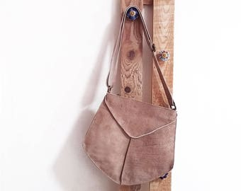 Nude Leather Messenger bag - Leather crossbody bag for women