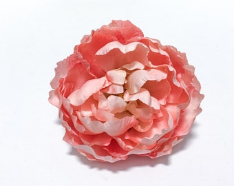 Silk Flowers - One Large CORAL PINK Peony - 5 Inches - Artificial Flowers
