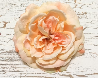 One Jumbo Fully Bloomed PEACH Sophia Rose - 5.5 Inches - Artificial Flowers, Silk Flowers. Flower Crown, Wedding, Millinery, Hair Accessory