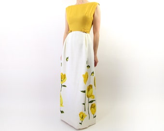 VINTAGE Yellow Gown 1960s Floral Dress