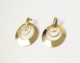 VINTAGE Large Round Dangle Earrings Gold Pierced