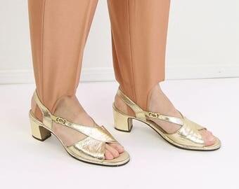 VINTAGE Gold Heels 1970s Sandals Size 8