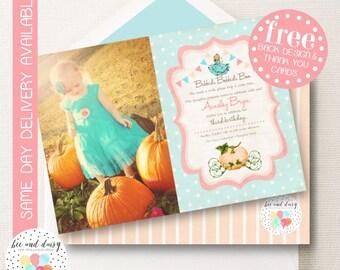 Vintage Pumpkin Princess Invitation, Pumpkin Princess Birthday Invitation, Pumpkin Princess Party Invite, Girl First Birthday, Girl Birthday