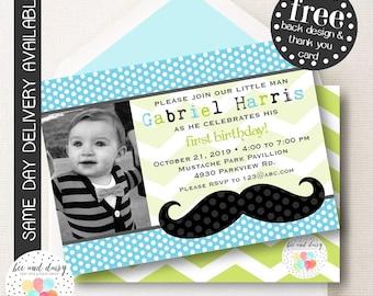 Mustache Birthday Invitation, Mustache Baby Shower Invitation, Mustache First Birthday, Boy Birthday, Boy Mustache Invite BeeAndDaisy