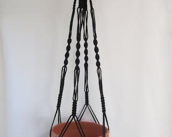 Macrame Plant Hanger Vintage Style 40 inch Black 4mm (Choose Color)