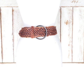 Vintage wide brown woven leather belt/braided leather statement boho belt/small