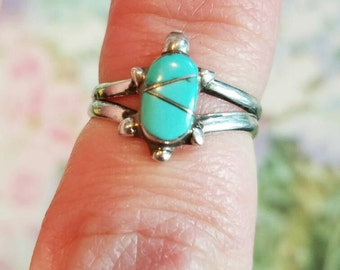 Vintage Sterling Silver and Turquoise Turtle or Tortoise Ring 1990s Size 5.5