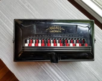 Vintage Magnus Chromatic Hand Accordion  Musical Instrument Made in the USA Red