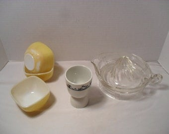 Small Collection of Vintage Kitchen Utensils  Pyrex Dessert Cups Egg Cup Glass Juicer