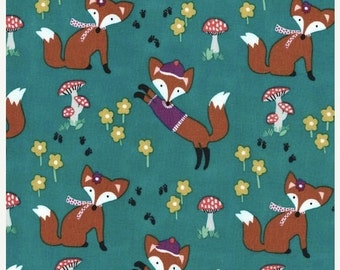 Christmas Sale Lil Foxy Fabric in Teal by Michael Miller Fabrics Half Yard